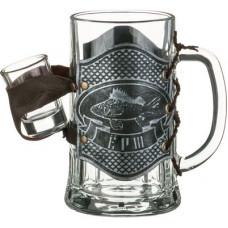 """Кружка для пива сувенирная """"Ерш""""  с 1 рюмкой"""